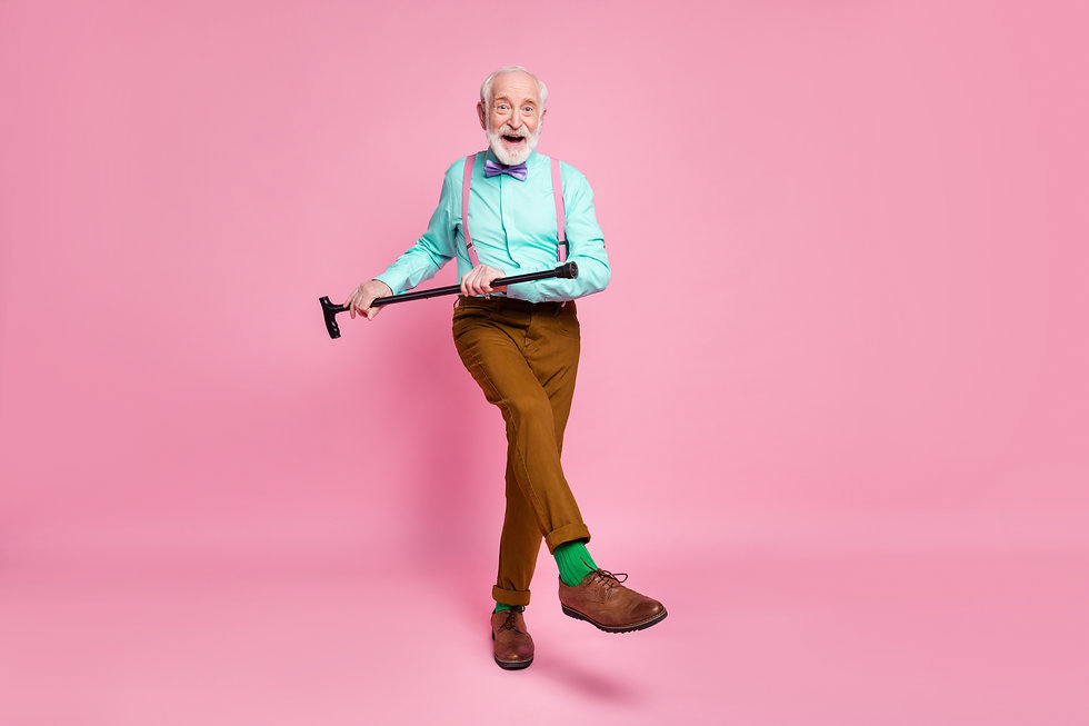 Full length photo of active grandpa moving dance pensioner party use walk stick raise leg