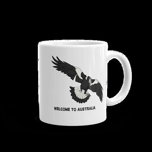Welcome To Australia/ Magpie - White glossy mug