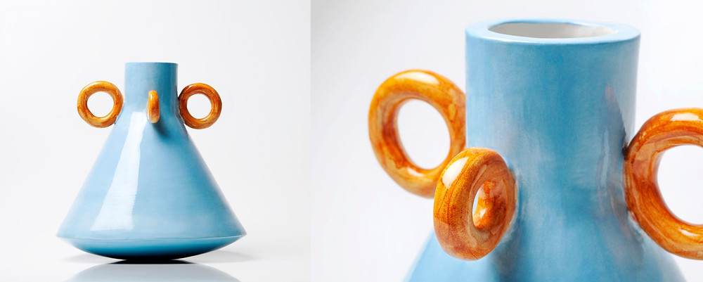 Ramina Blue Handmade Ceramic Vase by Arianna De Luca