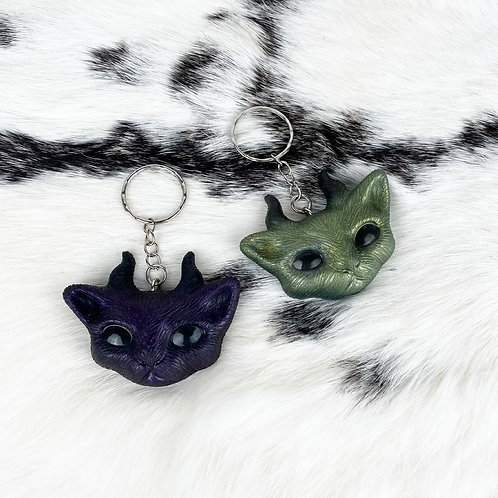 Horned Cat Witchy Gothic Resin Keyring