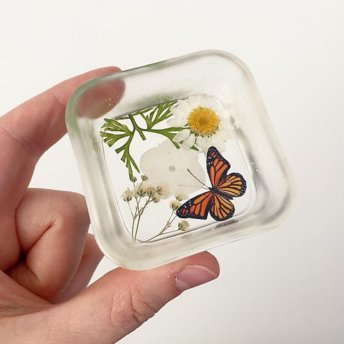 Resin Monarch and Nature Trinket Dish