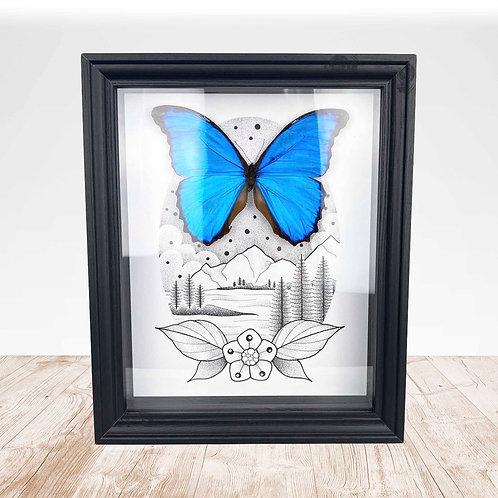 ORIGINAL Artwork with REAL Giant Blue Morpho (Morpho didius)
