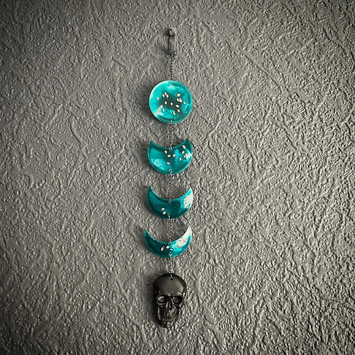 Ocean Blue Resin Moon Phase Skull Hanger