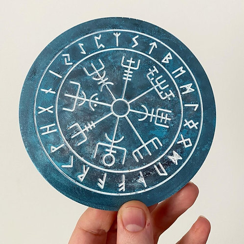 Resin Vegvisir Norse Rune Odin's Compass Coaster Candle Holder