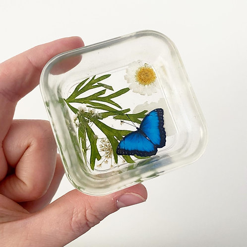 Resin Blue Morpho and Nature Trinket Dish