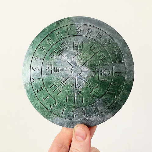 Resin Vegvisir Norse Rune Odin's Compass Stone Coaster Candle Holder