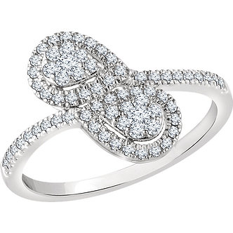 14K White Gold Diamond Double Pear Cluster Ring