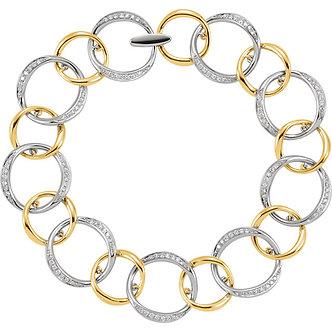 14K White & Yellow Gold Diamond Link Bracelet