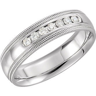 14K White Gold Comfort Fit Double Milgrain Band