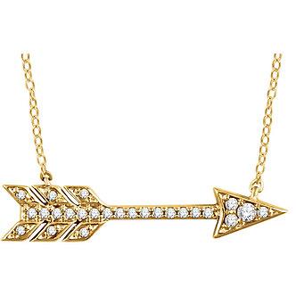 14K Yellow Gold Diamond Arrow Necklace