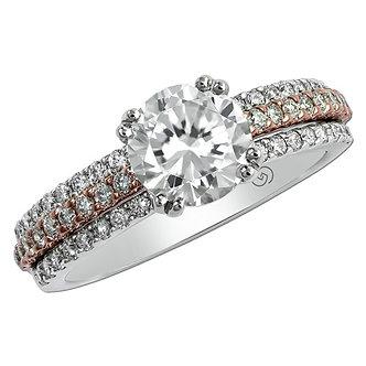 Rose & White Gold Three Row Diamond Engagement Ring