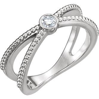14K White Gold Diamond Bezel Set Beaded Ring