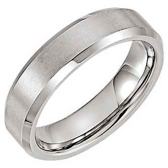 Tungsten Satin & Polished Beveled Band