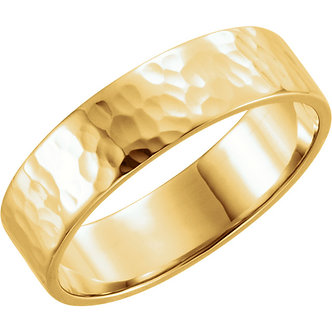 14K Yellow Gold Flat Band with Hammer Finish