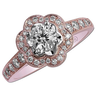 14K Rose Gold Petal Shaped Halo Engagement Ring