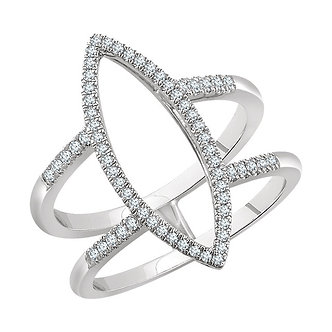14K White Gold Geometric Diamond Ring