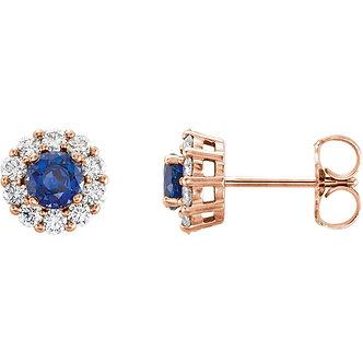 14K Rose Gold Blue Sapphire Diamond Halo Earrings