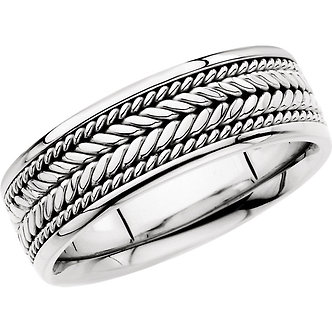 14K White Gold Comfort-Fit Hand Woven Band