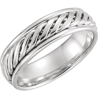 14K White Gold Comfort-Fit Duo Grooved Band