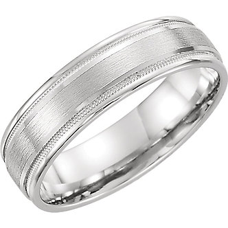 14K White Gold Flat Edge Comfort Fit Milgrain Satin Finish Band