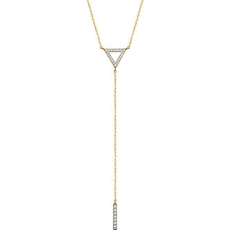 14K Yellow Gold Diamond Triangle & Bar Y Necklace