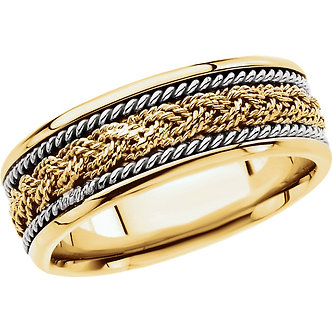 14K Yellow & White Gold Comfort-Fit Hand-Woven Band