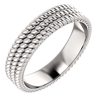 14K White Gold Layered Stacked Rope Band