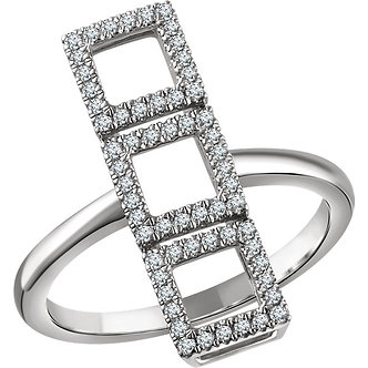 14K White Gold Diamond Triple Square Ring