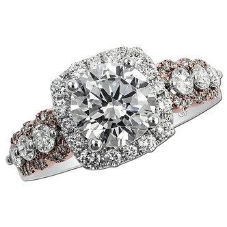Rose & White Gold Halo Engagement Ring
