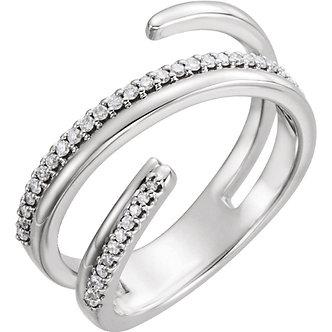 14K White Gold Diamond Negative Space Ring