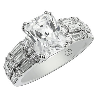 White Gold Modern Baguette Engagement Ring