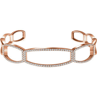 14K Rose Gold Diamond Cuff