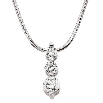14K White Gold Diamond 3 Stone Necklace
