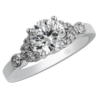 White Gold Floral Inspired Engagement Ring