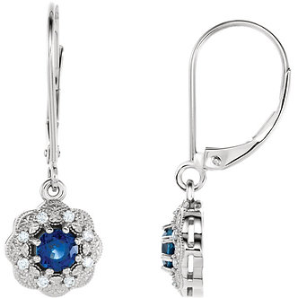 14K White Gold Blue Sapphire & Diamond Halo-Style Earrings