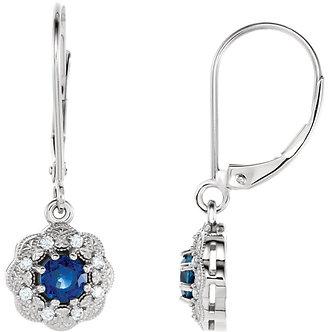 14K White Gold Blue Sapphire & Diamond Halo-Style Earrings