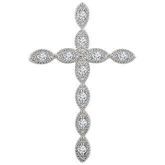 14K White GoldDiamond Cross Pendant