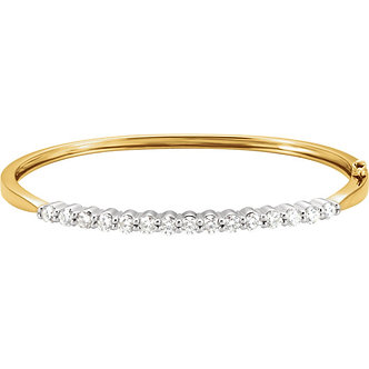 14K Yellow & White Gold Diamond Bangle Bracelet