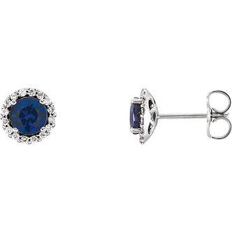 14K White Gold Blue Sapphire Diamond Earrings