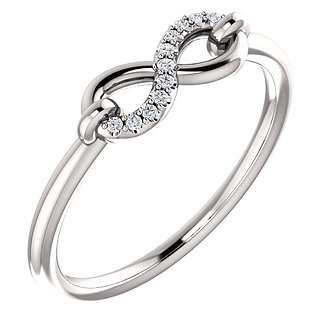 14K White Gold Diamond Infinity-Style Ring