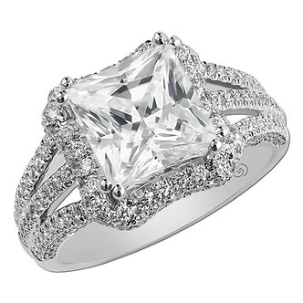 14K White Gold Pavé Halo Engagement Ring