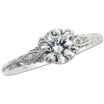 White Gold Vintage Inspired Engagement Ring