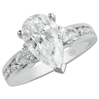 White Gold Three Stone Pear Shaped Engagement Ring