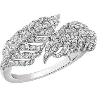 14K White Gold Diamond Leaf Ring