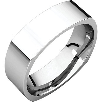 14K White Gold Square Comfort Fit Band