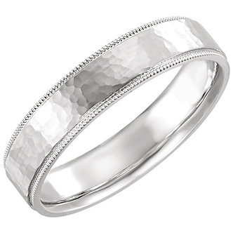 14K White Gold Flat Milgrain Comfort Fit Satin & Hammer Finish Band