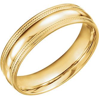 14K Yellow Gold Coin Edge Design Band