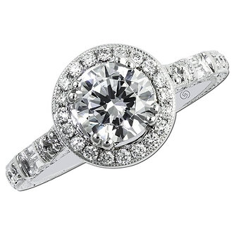 White Gold Halo Baguette Engagement Ring