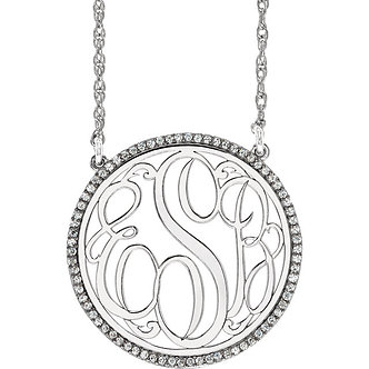 "14K White Gold Diamond Script Monogram 18"" Necklace"
