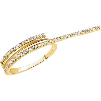14K Yellow Gold Diamond Two-Finger Ring